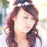 Bridal headband, white berr..