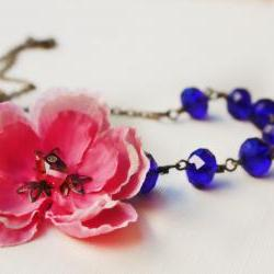 Blue necklace, cherry blossom, assymetrical necklace