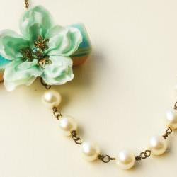 sea foam cherry blossom necklace