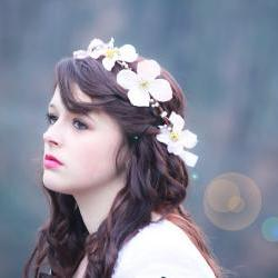 wedding hair crown, flower hair band, flower hair crown, dogwood blossom halo, bridal flower