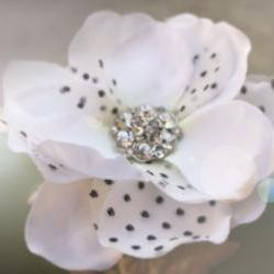 polka dot soft tulle bridal hair clip, rhinestone hair clip