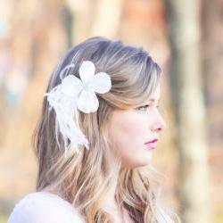 Love Song - Dogwood flower hair clip, bridal hair clip, ostrish feather hair clip