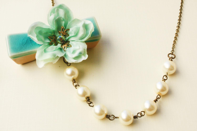 sea foam cherry blossom necklace on luulla