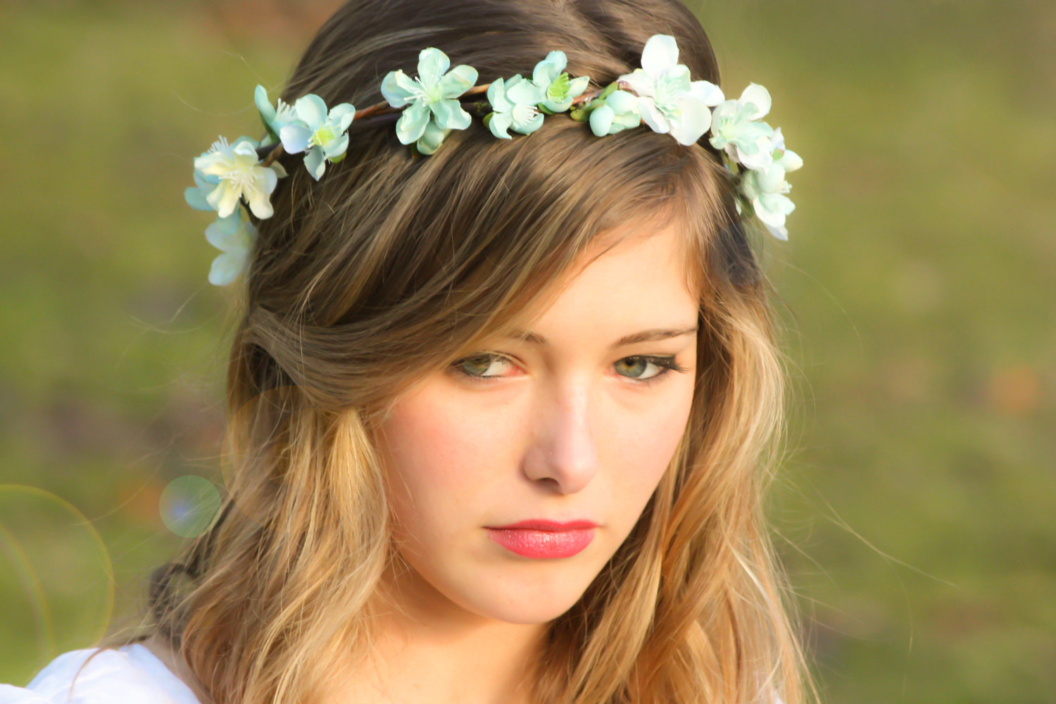 ... , head wreath in seafoam, hair accessories, bridal, flower girl